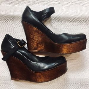 Aldo Black leather Mary-Jane wooden platforms